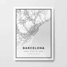 Barcelona Modern Map Metal Print
