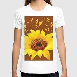 COFFEE BROWN YELLOW SUNFLOWER & BUTTERFLIES T-shirt