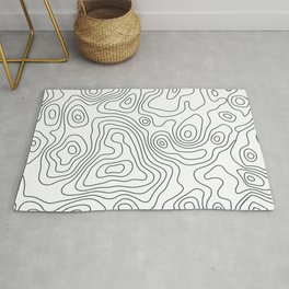 Topographic Map - Black and White Rug