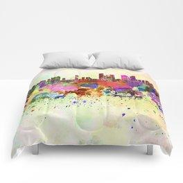 Tel Aviv skyline in watercolor background Comforters