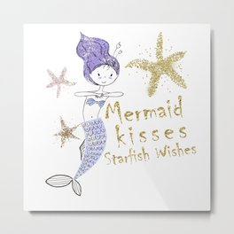 Purple & Gold Glitter Mermaid Kisses Starfish Wishes Metal Print