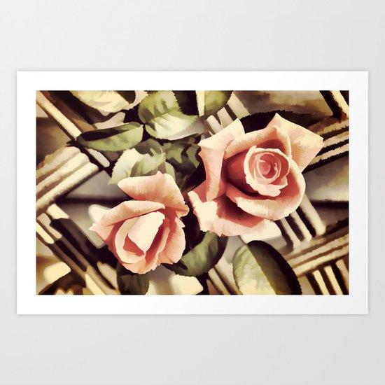 Vintage Rose Garden - Painterly Art Print