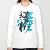 kafka Long Sleeve T-shirts featuring Kafka portrait in Blue & Black by aygeartist