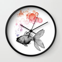 Fine-Art-Print GOLDFISH vintage exhale bubbles Wall Clock