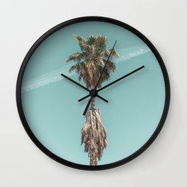Malibu Beach Palm // California Beach Vibes Teal Ocean Sky Jetstream Photograph Wall Clock