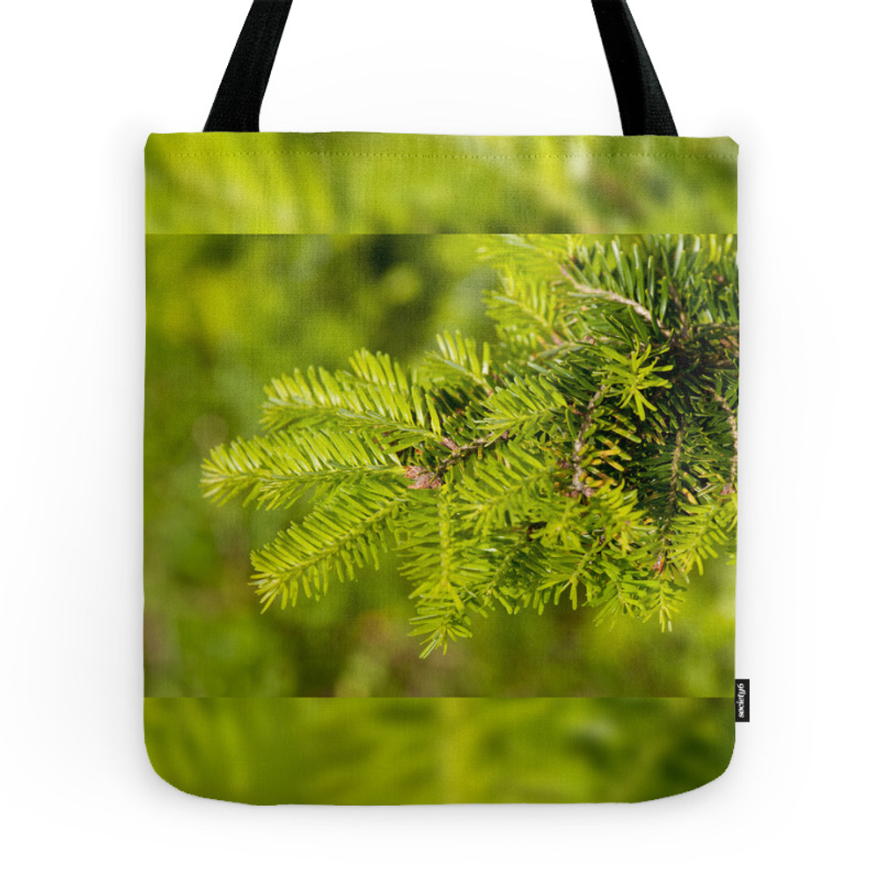 Green Coniferous Fresh Shoots Detail Tote Purse by arletta (TBG7291535) photo
