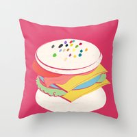 hamburger Throw Pillows featuring Hamburger by Haina