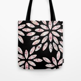 Marbled Flowers Pattern Tote Bag
