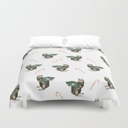 Winter Chipmunk and Candy Canes Duvet Cover