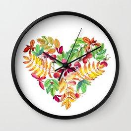 Heart leaves watercolor Wall Clock