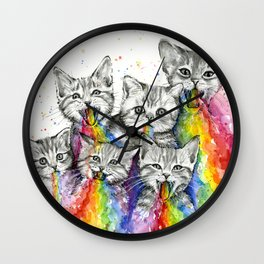 Kittens Puking Rainbows Wall Clock