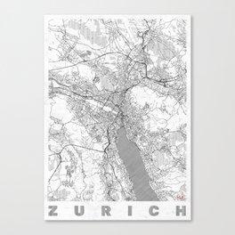Zurich Map Line Canvas Print