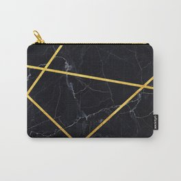 Black marble with gold lines Carry-All Pouch