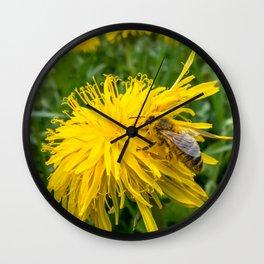 Dandelion and Honey Bee Wall Clock