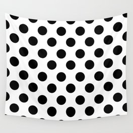 Black and White Medium Polka Dots Wall Tapestry