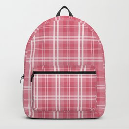 Faded and Shaded Nanucket Red and White Tartan Plaid Check Backpack