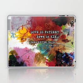 Love NEVER FAILS Scripture Bible Verse Abstract Art Painting by Michel Keck Laptop & iPad Skin