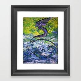 Raven Ascending through Liminal Space Framed Art Print