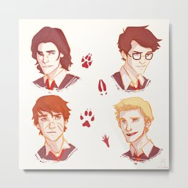 Mooney, Wormtail, Padfoot, and Prongs Metal Print