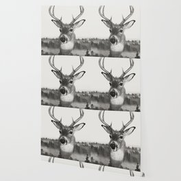 Whitetail Deer Black and White Double Exposure Wallpaper
