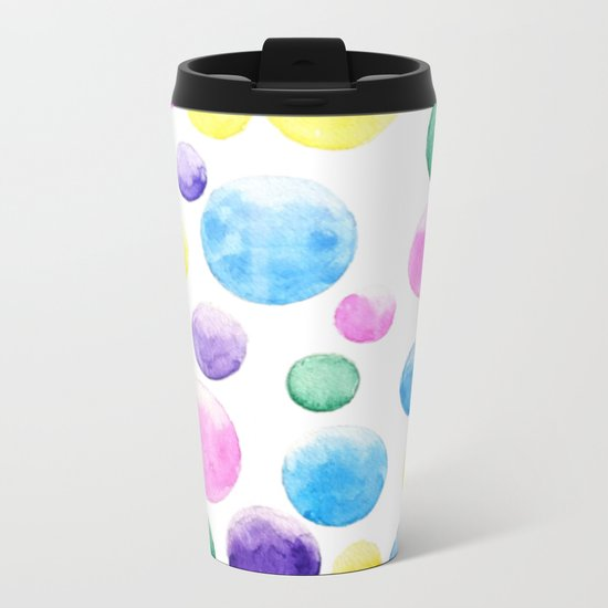 cheerful colorful bubbles Metal Travel Mug