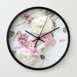 SPRING FLOWERS WHITE & PINK Wall Clock