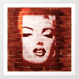 Marilyn Street Art on Brick Wall Art Print