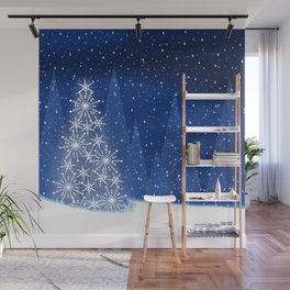 Snowy Night Christmas Tree Holiday Design Wall Mural