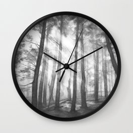 """Soothing Place"" - pencil drawing of the dark forest Wall Clock"