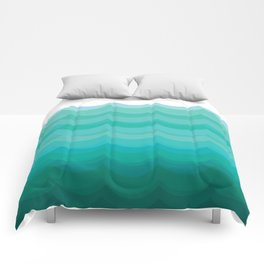Wave pattern, blue and green pattern, home decor Comforters