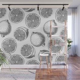 Lemons hand drawn pattern Wall Mural