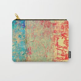 Brilliant Encounter, Abstract Art Turquoise Red Carry-All Pouch