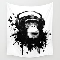 business Wall Tapestries featuring Monkey Business - White by Nicklas Gustafsson