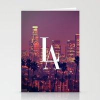 dodgers Stationery Cards featuring Downtown LA Vintage Skyline Typography by RexLambo