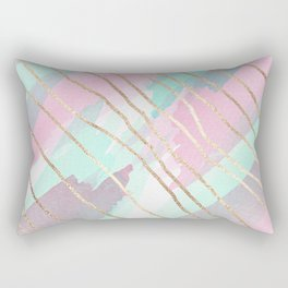 Girly Watercolor Pink Teal Purple Gold Brushstroke Rectangular Pillow