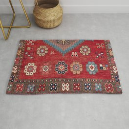 Tribal Honeycomb Palmette // 19th Century Authentic Colorful Red Aztec Flower Accent Pattern Rug