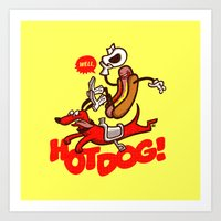 hot dog Art Prints featuring Hot Dog! by Gimetzco's Damaged Goods