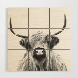 Black and White Highland Cow Portrait Wood Wall Art