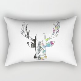 Black and White to Color Deer Head Rectangular Pillow