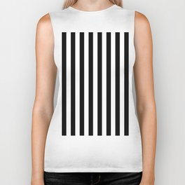Parisian Black & White Stripes (vertical) Biker Tank