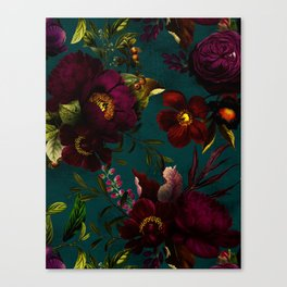 Before Midnight Vintage Flowers Garden Canvas Print