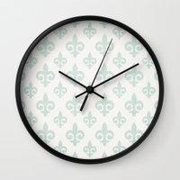 fleur de lis Wall Clocks featuring Fleur-de-lis by Juste Pixx Designs