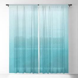 Teal and White Watercolor Abstract Art Gradient Sheer Curtain