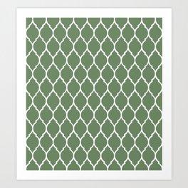 Olive Modern Quatrefoil Pattern Art Print