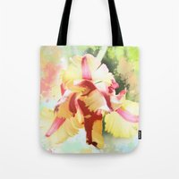 water colour Tote Bags featuring Water colour parrot tulip by thea walstra