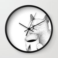 coffe Wall Clocks featuring Coffe & Cat by Sungwon
