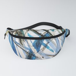 leaves in blue Fanny Pack
