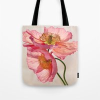 jazzberry Tote Bags featuring Like Light through Silk - peach / pink translucent poppy floral by micklyn