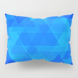 Bright blue and celestial triangles in the intersection and overlay. Pillow Sham