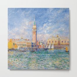 The Palace of the Doge's & St. Mark's Square Venice Italy landscape painting by Pierre Renoir Metal Print